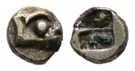 Ionia, Phokaia. ca.625/0-522 BC. EL 1/48 Stater (4mm, 0.15g). Head of seal right. / Incuse square punch. Bodenstedt 2.2; Boston MFA -; SNG von Aulock ...