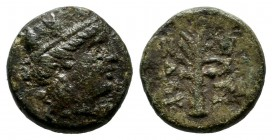 Ionia, Smyrna. ca.3rd century BC. Æ (10mm, 1.30g). Turreted head of Tyche right. / ΣMYΡ […], Palm tree. SNG Cop. 1115; Milne 1923 p. 20, 37; Lindgren ...