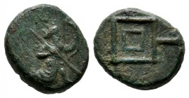 Ionia. Achaemenid Period. Uncertain Satrap. ca.350-334 BC. Æ (12mm, 2.17g). Persian king in kneeling-running stance right, holding spear and bow, quiv...