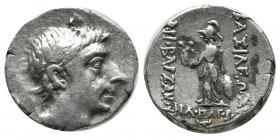 Kings of Cappadocia. Ariobarzanes II Philopator AR Drachm (16mm, 4.01g). Eusebeia-Mazaka, dated RY 8 (55 BC). Diademed head right. / ΒΑΣΙΛΕΩΣ-ΑΡΙΟΒΑΡZ...