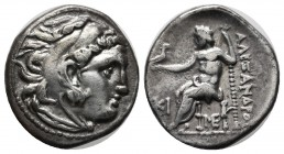 Kings of Macedon. Alexander III 'the Great', 336-323 BC. AR Drachm (18mm, 4.15g). Lampsakos. Head of Herakles right, wearing lion skin. / ΑΛΕΞΑΝΔΡΟΥ. ...