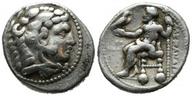 Kings of Macedon. Alexander III 'the Great'. 336-323 BC. AR Tetradrachm (28mm, 17.02g). Tyre mint. Struck under Menes. Dated RY 26 of Azemilkos (324/3...