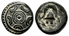Kings of Macedon. Alexander III 'the Great', 336-323 BC. Æ (14mm, 4.18g). Milet or Mylasa. Macedonian shield with pellet in three circles on boss / Ma...