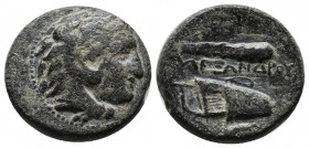 Kings of Macedon. Alexander III 'the Great', 336-323 BC. Æ (18mm, 6.20g). Uncertain Macedonian mint. Head of Herakles right, wearing lion's skin headd...