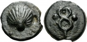 Anonymous, c. 280 BC. Sextans (Bronze, 35 mm, 52.75 g, 3 h), Rome. Scallop shell, ••. Rev. Caduceus, ••. Crawford 14/5. HN III 272. Vecchi 30. Somewha...