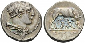 Anonymous, c. 276-265 BC. Didrachm (Silver, 21 mm, 7.28 g, 7 h), Neapolis. Head of Hercules to right. Rev. ROMANO Wolf and twins. Crawford 20/1. Syden...