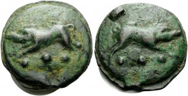Anonymous, c. 270 BC. Quadrans (Bronze, 41 mm, 87.79 g, 12 h), Rome. Boar leaping right, •••. Rev. Boar leaping left, •••. Crawford 18/4. HN III 282. ...