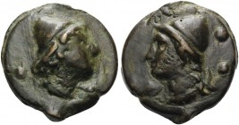 Anonymous, c. 270 BC. Sextans (Bronze, 36 mm, 62.00 g, 12 h). Head of a Dioscurus to right, ••. Rev. Head of a Dioscurus to left, ••. Crawford 18/5. H...