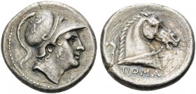 Anonymous, 241-235. Didrachm (Silver, 19 mm, 6.25 g, 5 h), Rome. Helmeted head of Mars to right. Rev. ROMA Head of bridled horse to right; behind, sic...