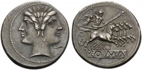 Anonymous, 225-212 BC. Quadrigatus or Didrachm (Silver, 22 mm, 6.54 g, 1 h). Laureate janiform head of the Dioscouri. Rev. Jupiter, holding scepter an...