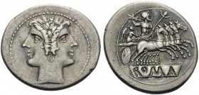 Anonymous, 225-214 BC. Quadrigatus or Didrachm (Silver, 23 mm, 6.60 g, 11 h). Laureate janiform head of the Dioscouri. Rev. Jupiter, holding scepter a...