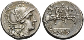 Anonymous, c. 211-208 BC. Denarius (Silver, 18 mm, 4.61 g, 9 h), Rome. Helmeted head of Roma to right; behind, X. Rev. ROMA The Dioscouri riding to ri...