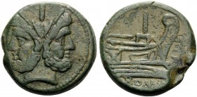 Anonymous, 209-208 BC. As (Bronze, 31 mm, 31.17 g, 11 h). I Laureate head of Janus. Rev. I / ROMA Prow to right; in field to right, anchor. Crawford 5...