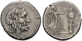 Anonymous, c. 211-208 BC. Victoriatus (Silver, 18 mm, 3.21 g, 1 h), Luceria. Laureate head of Zeus to right; below, L. Rev. ROMA Victory walking right...