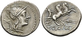 T. Cloelius, 128 BC. Denarius (Silver, 20 mm, 3.88 g, 8 h), Rome. ROMA Helmeted head of Roma to right; behind, wreath. Rev. T.CLOVLI Victory in pranci...