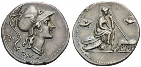 Anonymous, 115 or 114 BC. Denarius (Silver, 20 mm, 3.94 g, 8 h), Rome. ROMA Helmeted head of Roma to right. Rev. Roma seated on pile of shields to rig...