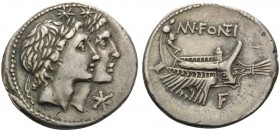 Mn. Fonteius, 108-107 BC. Denarius (Silver, 20 mm, 3.90 g, 1 h), Rome. Laureate and jugate heads of the Dioscuri to right. Rev. MN.FONTEI Galley to ri...