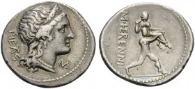 M. Herennius, 108-107 BC. Denarius (Silver, 19 mm, 3.99 g, 6 h), Rome. PIETAS Diademed head of Pietas to right; to right, M. Rev. M HERENNI One of the...