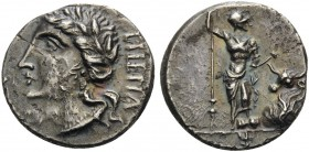 The Social War. Coinage of the Marsic Confederation, 90-88 BC. Denarius (Silver, 18 mm, 3.88 g, 10 h), Bovianum, c. 89 . Viteliú (in Oscan) Laureate h...