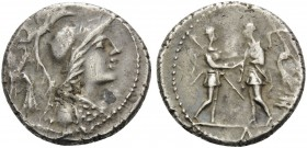 The Social War. Coinage of the Marsic Confederation, 90-88 BC. Denarius (Silver, 17 mm, 4.04 g, 12 h), mint moving in Campania, 88. Helmeted and drape...