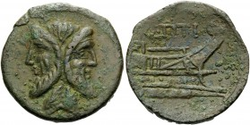 Q. Titius, 90 BC. As (Bronze, 26 mm, 10.15 g, 1 h), Rome. Laureate and bearded head of Janus. Rev. Q.TITI Prow to right. Crawford 341/4a. Sydenham 694...