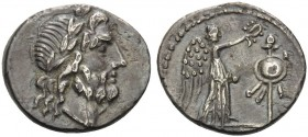 Cn. Lentulus Clodianus, 88 BC. Quinarius (Silver, 14 mm, 1.93 g, 12 h), Rome. Laureate head of Jupiter to right. Rev. [CN.LENT] Victory and trophy. Ba...