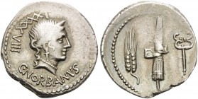 C. Norbanus, 83 BC. Denarius (Silver, 19 mm, 3.93 g, 12 h), Rome. C.NORBANVS - LXXXXVIII Head of Venus to right. Rev. Corn-ear, fasces with axe, and c...