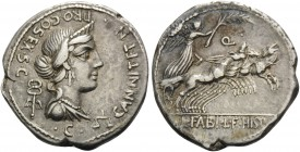 C. Annius T.f. T.n, 82-81 BC. Denarius (Silver, 19 mm, 3.82 g, 12 h), Rome. C. Annius T.f. T.n Diademed and draped female bust to right, with caduceus...