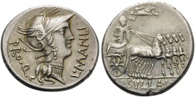 L. Manlius Torquatus, 82 BC. Denarius (Silver, 18 mm, 4.09 g, 2 h), mint moving with Sulla in Italy. L.MANLI - PRO.Q Helmeted head of Roma ro right. R...
