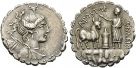 A. Postumius A.f. Sp.n. Albinus, 81 BC. Denarius Serratus (Silver, 19 mm, 4.16 g), Rome. Draped bust of Diana to right with bow and quiver over her sh...