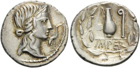 Q. Caecilius Metellus Pius, 81 BC. Denarius (Silver, 18 mm, 3.87 g, 8 h), military mint traveling with Sulla's army in northern Italy. Diademed head o...