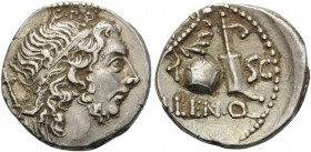 Cn. Lentulus, 76-75 BC. Denarius (Silver, 17 mm, 3.98 g, 4 h), uncertain mint in Spain. Diademed and draped bust of the Genius Populi Romani to right;...