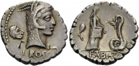 L. Roscius Fabatus, 59 BC. Denarius (Silver, 18 mm, 3.87 g, 6 h), Rome. L ROSCI Head of Juno Sospita to right; behind, satyr mask; in field to left, b...