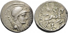 P. Fonteius P.f. Capito, 55 BC. Denarius (Silver, 18 mm, 3.96 g, 6 h), Rome. P • FONTEIVS • P • F • CAPITO • III • VIR Helmeted bust of Mars to right....