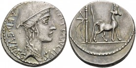 Cn. Plancius, 55 BC. Denarius (Silver, 17 mm, 4.09 g, 11 h), Rome. CN PLANCIVS AED CVR S C Female head (the personification of Macedonia) to right, we...