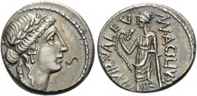 Man. Acilius Glabrio, 49 BC. Denarius (Silver, 18 mm, 4.02 g, 10 h), Rome. SALVTIS (barely visible but downwards) Large aureate head of Salus to right...