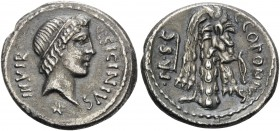 Q. Sicinius and C. Coponius, 49 BC. Denarius (Silver, 18 mm, 3.85 g, 5 h), mint travelling with Pompey in the East. Q.SICINIVS III VIR Diademed head o...