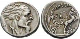 L. Hostilius Saserna, 48 BC. Denarius (Silver, 16 mm, 4.03 g, 9 h), Rome. Bearded male head to right, his hair straggling out behind him; cloak around...