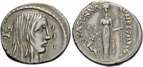 L. Hostilius Saserna, 48 BC. Denarius (Silver, 19 mm, 4.08 g, 6 h), Rome. Bare head of a Gallic woman to right, with long disheveled hair; behind, car...