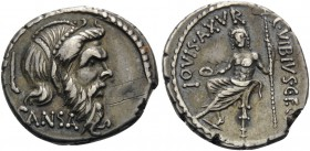 C. Vibius C.f. C.n. Pansa Caetronianus, 48 BC. Denarius (Silver, 19 mm, 4.02 g, 4 h), Rome. PANSA Mask of bearded Pan to right, adorned with berries a...