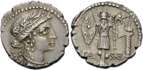 Julius Caesar, late spring - early summer 48 BC. Denarius (Silver, 19 mm, 4.17 g, 5 h), mint moving with Caesar. Female head to right (Clementia?), we...