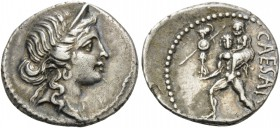 Julius Caesar, 47-46 BC. Denarius (Silver, 18 mm, 3.88 g, 7 h), military mint traveling with Caesar in North Africa. Diademed head of Venus to right. ...