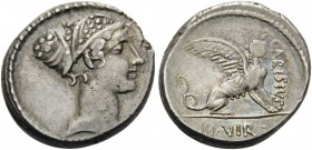 T. Carisius, 46 BC. Denarius (Silver, 17 mm, 4.01 g, 9 h), Rome. Head of the sibyl Herophile to right. Rev. T.CARISIVS / III.VIR Sphinx seated to righ...