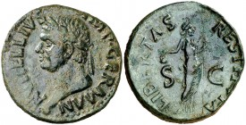 (69 d.C.). Vitelio. Tarraco. As. (Spink 2218) (Co. 49) (RIC. 43). 9,44 g. Pátina verde. MBC+.