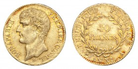 FRANCE. Napoleon, first consul, 1799-1804. Gold 40 Francs An 11-A (1802/03), Paris. 12.9 g. Mintage 226,115. KM-652. Pleasant example with some red to...