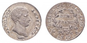FRANCE. Napoleon, 1804-14. 1/2 Franc An 13-A (1804/05), Paris. 2.5 g. Mintage 426,412. KM-655.1; Gad-395; F-174. Deeply toned. Rarely seen this choice...