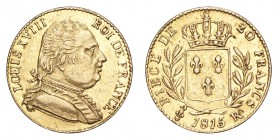 FRANCE. Louis XVIII, exile, 1815. Gold 20 Francs 1815-R, London. 6.45 g. Gad-1027. Struck in London to pay for soldiers in France. EF.