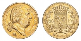 FRANCE. Louis XVIII, 1815-24. Gold 20 Francs 1818-A, Paris. 6.45 g. Gad-1028. Pleasant red toning. VF+.