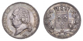 FRANCE. Louis XVIII, 1814-24. 5 Francs 1823-A, Paris. 25 g. Gad-614; F-309. A couple of very fine scratches in obverse fields, otherwise a pleasantly ...