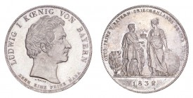GERMANY: BAVARIA. Ludwig I, . Taler 1832, Munich. 28.06 g. Thun-60; J-42; AKS-127. Geschichtsthaler. To commemorate Prince Otto of Bavaria as the firs...